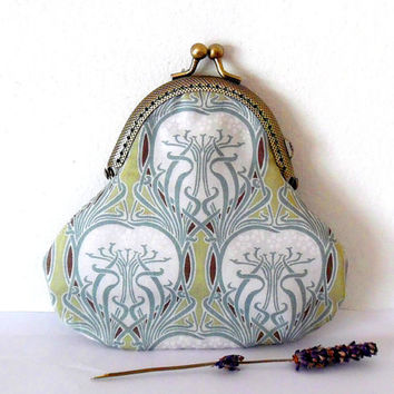 Pale green nouveau purse / floral / white / mauve / grey / heart / trees / cotton / bronze / handmade / gift / wallet / small clasp purse