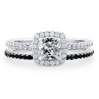 Sterling Silver Cushion Cubic Zirconia CZ Halo Ring Set 0.9 ct.twBe the first to write a reviewSKU# VR205-01