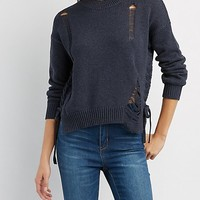 Destroyed Lace-Up Sweater | Charlotte Russe