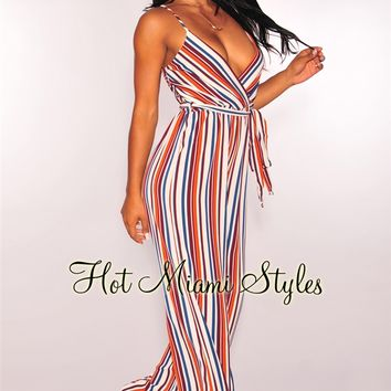 Autumn Striped Belted Palazzo Jumpsuit