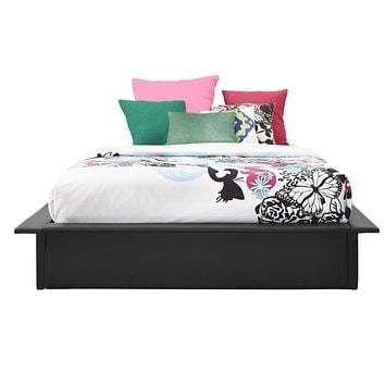 Full size Modern Padded Faux Leather Platform Bed Frame in Black with Wooden Slats