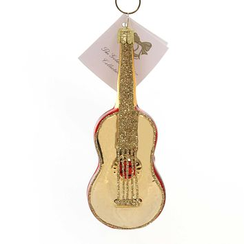 Golden Bell Collection RED GUITAR Glass Hand Painted Nvv116