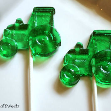 10 Tractor Barley Sugar Candy Lollipops Birthday Party Favors Farm Farmer