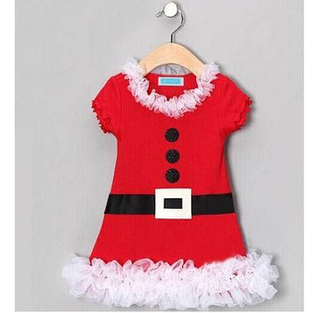 Xmas Gift Santa Claus Baby Kids Girls Lace Flounced Skirt Dress Costume Clothing