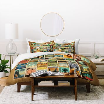 Anderson Design Group City Pattern Border Duvet Cover