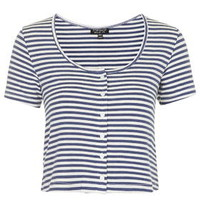 Button Up Stripe Top - Blue