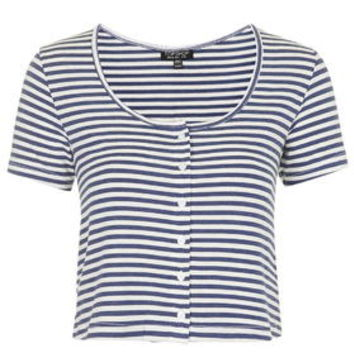 Button Up Striped Top - Blue
