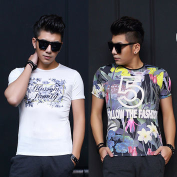 Tee Strong Character Short Sleeve Men's Men's Fashion Print Round-neck T-shirts = 6450403011