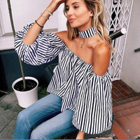 2016 Halter Neck Off Shoulder Boat Neckline Shirt Blouse Top Casual Party Playsuit Clubwear Bodycon Boho Top Shirt T-Shirt _ 9163