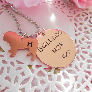 Copper English Bulldog Mom Hand Stamped Keychain Made to order