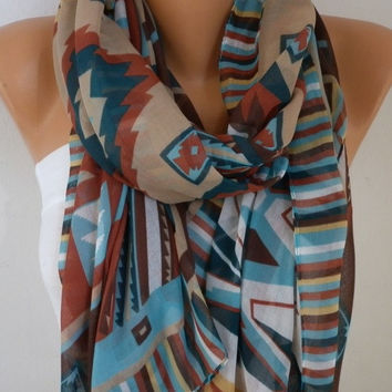 Southwestern Scarf Bohemian Scarf Aztec Scarf Tribal Scarf Shawl Multicolor Cotton Scarf Gift Ideas For Her Women Fashion Accessories