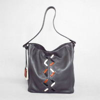 Gray leather hobo bag. Grey leather shoulder bag. Leather lacing bag.