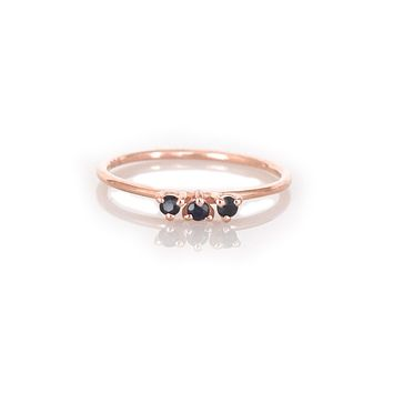 Black Garnet & Rose Gold Duchess Ring