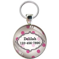 Pet Id Tag - Beautiful Custom Dog Id Tag- ONE INCH DIAMETER - Dog Tag Great for Cats and Small Breed Dogs - From California Mutts!