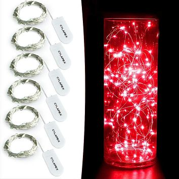 6 Pack: Micro LED Battery Powered Starry String Fairy Lights