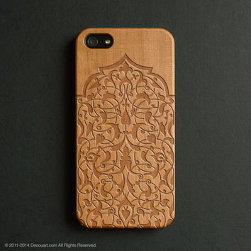 Real wood engraved floral pattern iPhone case S016