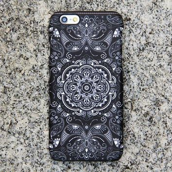 Vintage Black Floral iPhone XR Case | iPhone XS Max plus Case | iPhone 5 Case | Galaxy Case 3D 040