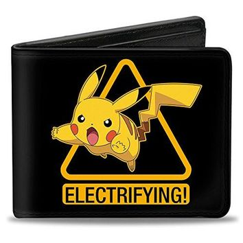 Buckle-Down PU Bifold Wallet - Pikachu Attack Warning ELECTRIFYING Black/Yellow