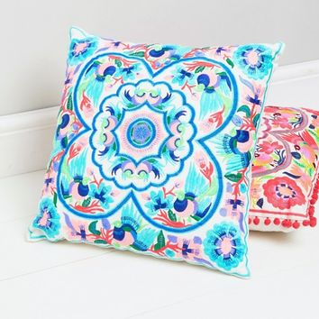 Bombay Duck Blue Embroidered Floral Cushion at asos.com