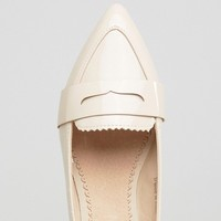 Lost Ink Nude Point Loafers at asos.com