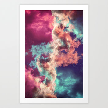 Yin Yang Painted Clouds Art Print by Caleb Troy