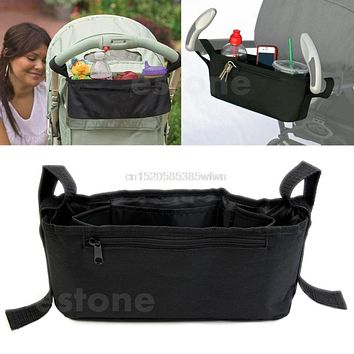 Stroller Drink Parent Tray Pram Console Organizer Double Cup Holder Phone Jogger #HC6U# Drop shipping