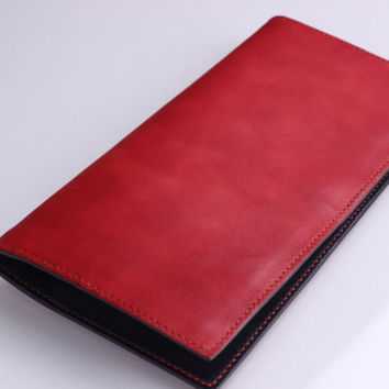 Handmade Men's/Women's Vegetable Tanned Long Leather Wallet No. 2 - Hand Stitched and Dyed Duo Colors Red/Black