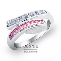 Fashion women CZ stone wedding rings punk red pink crystal inlay 925 sterling silver plated engagement ring jewelry SR0681