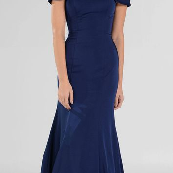 Elegant Mikado Mermaid Long Prom Dress Off The Shoulder Royal Blue