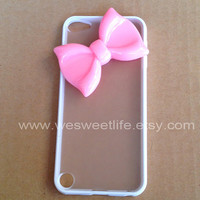 iPod Touch 5 Case pink Bow white translucent cover by wesweetlife