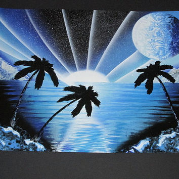blue beach spray paint art,palm tree art,space decor,beach spray painting,tropical decor,blue sunset wall art,palm tree decor,galaxy decor