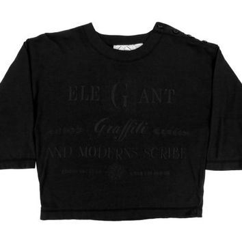 CLEARANCE SALE// Black on Black Crop Top - T-shirt, Boxy Fit, Engrish, Grunge, 90s