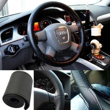 PEAPUG3 PU Leather DIY Car Steering Wheel Cover With Needle and Thread = 1932274372