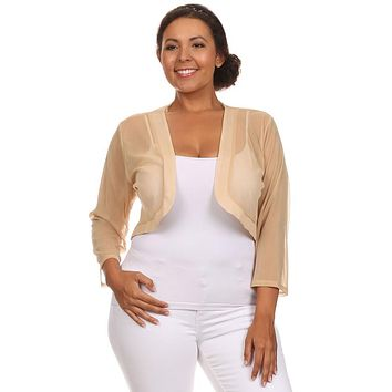 Gold Sheer Bolero Chiffon 3/4 Length Gold Chiffon Bolero Jacket