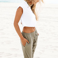 Khaki Dropcrotch Pants | SABO SKIRT