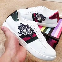 GUCCI New fashion stripe embroidery pig couple leisure shoes White