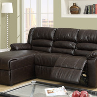 2 Pc Greenbrooke collection coffee brown bonded leather sectional sofa with left side chaise and recliner chair