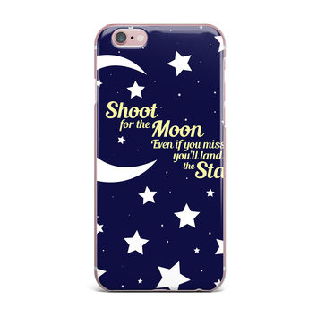 "NL Designs ""Moon And Stars Quote"" Blue White iPhone Case"