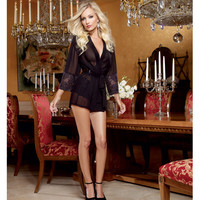 Chiffon & Stretch Lace Short Length Kimono Robe & Cheeky Panty Black Sm
