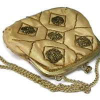 Vintage Gold Beaded Evening Purse Clutch Handbag - Chain Link Strap - Metallic Thread Accents - Made in Hong Kong - Kiss Lock - Satin Lining