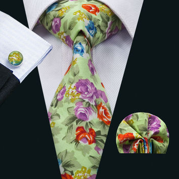 New Arrival Fashion Colorful Cotton Ties For Men  Necktie Hanky Cufflinks Set For Wedding Party