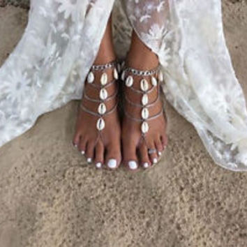 Boho Multilayer Cowrie Shell Anklets Barefoot Beach Sandals