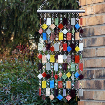 Unique, One Of A Kind, Glass Suncatcher, Wind Chime, Glass and Metal Suncatcher, Amour