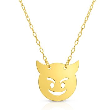 14k Yellow Gold Emoji Devil Necklace, 16""