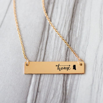 Home is Mississippi Gold / Silver Bar Necklace