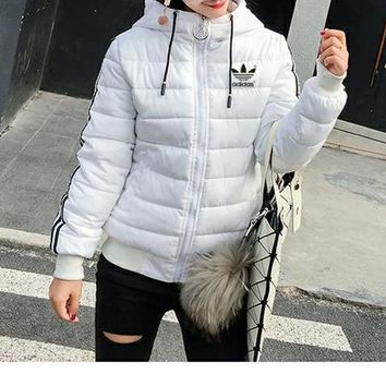 """Adidas"" Women Simple Fashion Stripe Zip Cardigan Hooded Long Sleeve Middle Long Section Cotton-padded Clothes Coat"