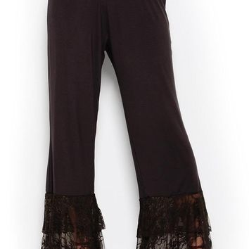 Brown Lace Accent Palazzo Pants