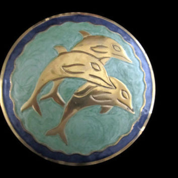Vintage Dolphin Covered Brass Enamel Dish Blue Green