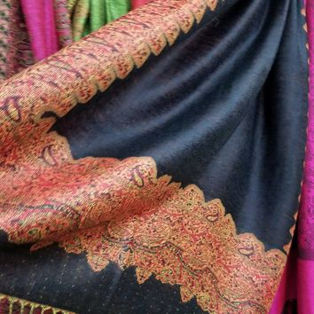 Black Background with Brick Red Paisley border