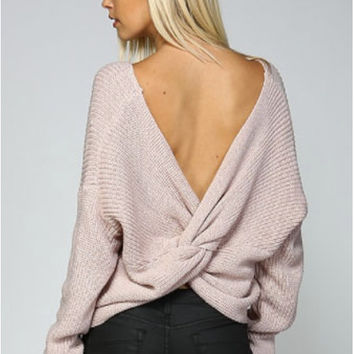 Round Neck V Back Sweater